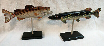 """Lot of 2 Folk Art Wood Hand Carved Fish Fishing Sculptures 12"""" Long on Stands"""