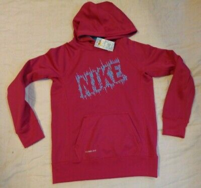 Nike Therma Fit Cold Gear,Fleece Lined Hood/Sweatshirt,Girls,Ylg,Pink,Blue,Excel