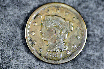 ESTATE FIND 1851 BRAIDED HAIR Large Cent  #J08159