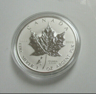 2005 CANADA UNC. 1 oz .9999 SILVER Reverse Proof $5 MAPLE LEAF-TULIP PRIVY MARK!