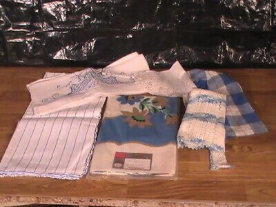 lot of 6 vintage unopened simtex  linen tablecloth, runner aprons dollies,no res