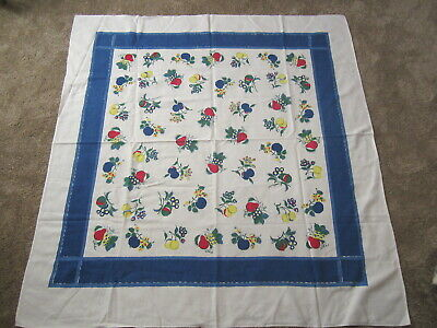 Vintage Startex Cotton Textured Fruit Tablecloth Berries Pears Grapes