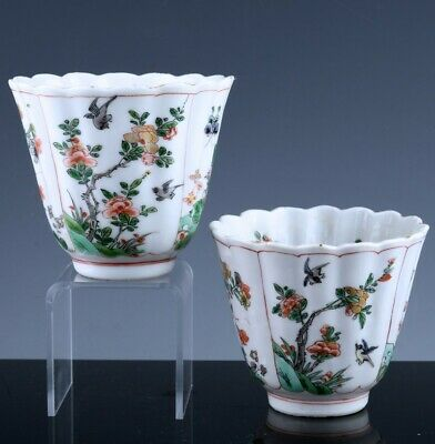 FINE PAIR c1700 CHINESE FAMILLE VERTE BIRD SCENIC FLUTED WINE CUPS KANGXI PERIOD