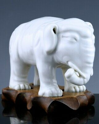 Great 19Thc Chinese Qing Blanc De Chine Dehua White Porcelain Elephant Figure