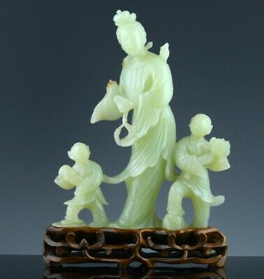 Finely Carved Old Chinese Celadon Jade Imperial Immortal With Children Figures