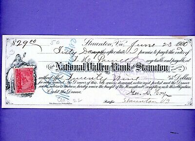1900 National Valley Bank of Staunton, Virginia Bank Check -- w/ Revenue Stamp
