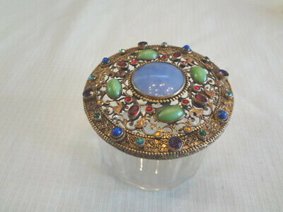 Stunning Early Signed Czech Jeweled Filigree & Crystal Vanity/Dresser Jar