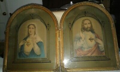 Very Old Antique Sacred Heart Mary & Jesus w/ Reverse Paint & Wood Gesso Frames