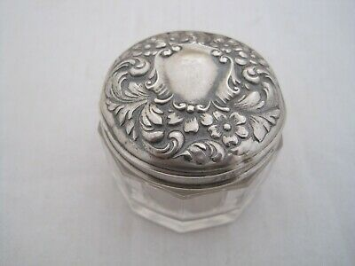 GORHAM 1890's DAISY STERLING SILVER TOP DRESSER JAR > USED GOOD CONDITION