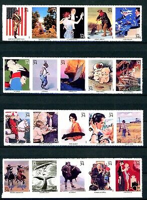 American Illustrators Complete Set of 20 S/A MNH Stamps Scott's 3502a to 3502t