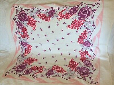 Vintage Tablecloth Pink Border- Red Pink Blue Purple Flowers Table Cloth 38 X 40