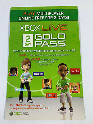 Microsoft Xbox 360 One ✔ 2 Day Live Gold Pass 48 Hour Trial Dlc Card