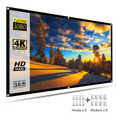 "100"" Portable Foldable Projector Screen 16:9 HD Home Theater Outdoor 3D Movies"