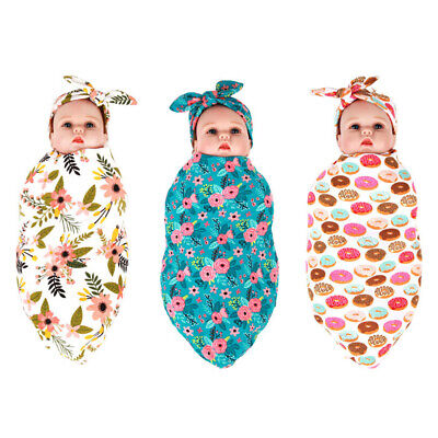 1pc Newborn Infant Baby Floral Donut Sleeping Swaddle Blanket Wrap and Headband