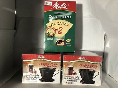TWO Melitta Single-Cup Pour Over Coffee Brewers, Black + 100pk #2 FIlters