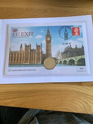 2020 UK Brexit 50p Coin & Stamp Cover LIMITED EDITION ONLY 995 Coa 524