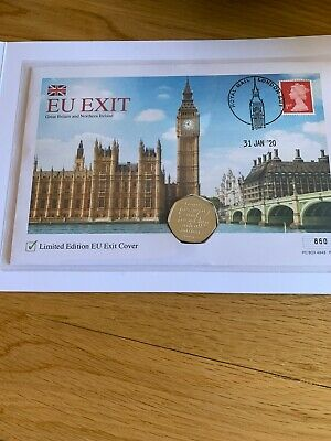 2020 UK Brexit 50p Coin & Stamp Cover LIMITED EDITION ONLY 995 Coa 860