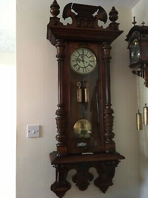 Large German Vienna Wall Clock With Weights, Key, Eagle & Decorative Top & Base.