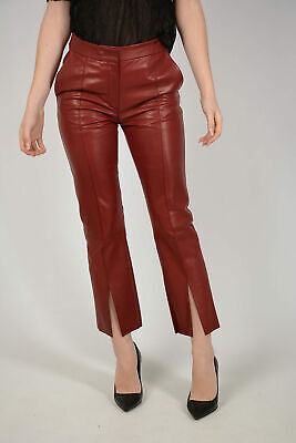 DROME women Trousers Red Leather Chino Pants Size S Ankle Slit Red S (Standar...