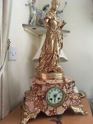 AD Mougin antique Figural french marble Marble clock- Simplicite Par Douret