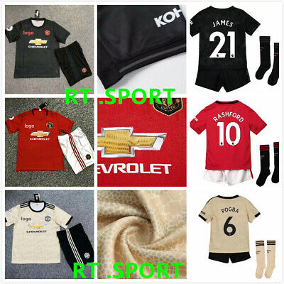 19/20 Football Kits Soccer Jersey Club Strips 2-13Yrs Kids Boys Sport Outfit UK