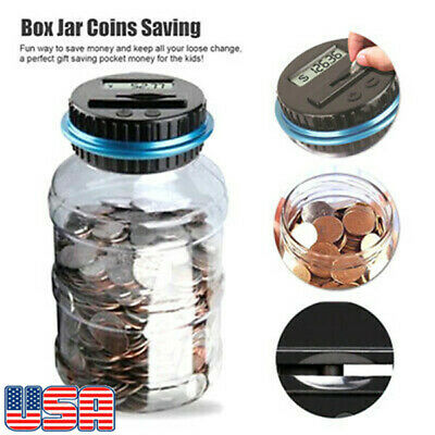 Digital Display Piggy Bank Coin Saving Counter LCD Auto Counting Money Jar US