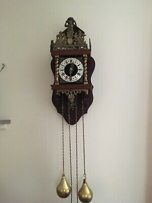 Vintage Working Dutch Wall Clock With Bell, Brass Weights Horse rider Pendulum