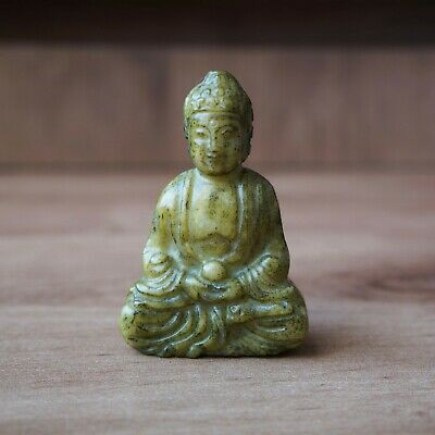 Old Chinese Yellow Jade Stone Hand Made Carved Buddha Statue