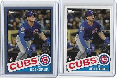 2020 Topps Series 1 Blue Parallel Plus Base 1985 Insert RC Nico Hoerner Cubs