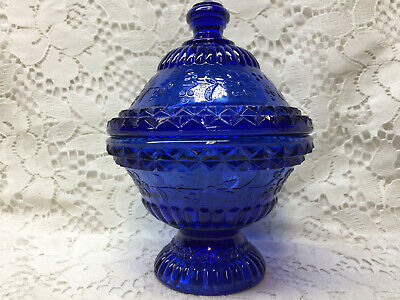 Blue Vaseline glass wildflower pattern Covered Candy dish butter uranium cobalt