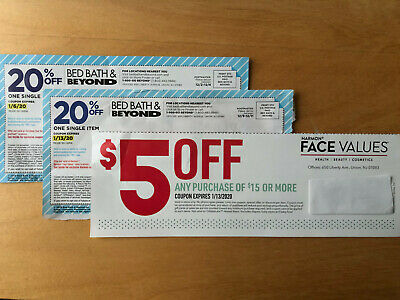 Bed Bath & Beyond + Harmon Face Values Coupons  20% Off, $5 Off $15