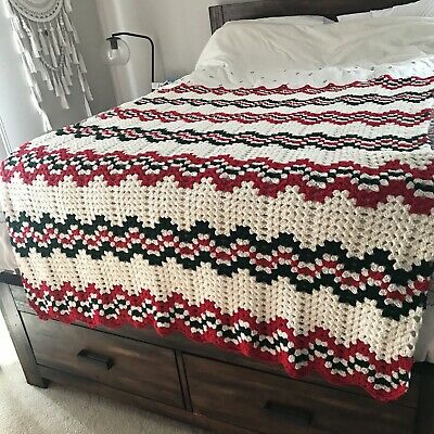 Hand Crocheted Afghan Lap Blanket Holiday Chevron Rippled Throw Red Green White