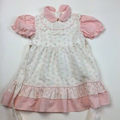 Vintage Claire Baby Girls Floral Dress 5 with White Cotton blend A3-13