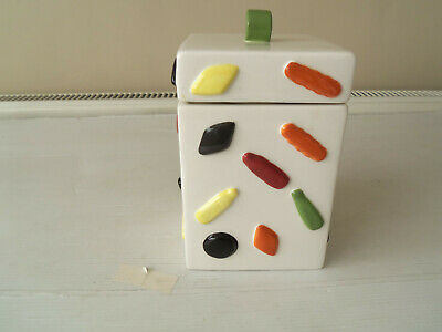 "Ceramic Storage Jar - ""Liquorice Allsorts"" - Tea/Coffee/Biscuits"