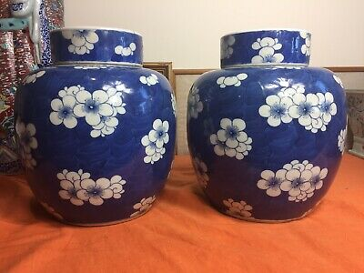 Pair Of Large Antique Chinese Blue And White Ginger Jar And Cover