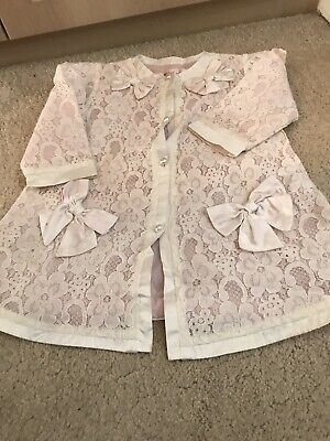 Girls KATE MACK pink With Ivory Lace Coat (thin Summer Coat) Age 24 Months