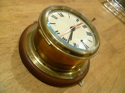 Vintage Brass Ships Clock ,No Key So Cannot Tell If Working