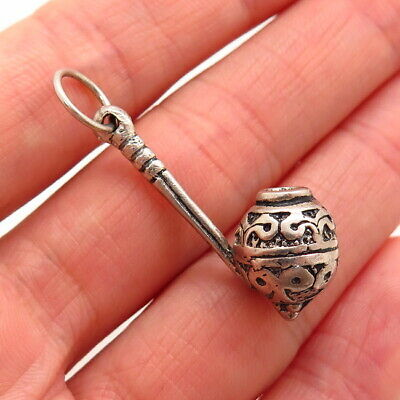 Antique Art Deco Sterling Silver Repousse Opium Pipe Chatelaine Charm Pendant