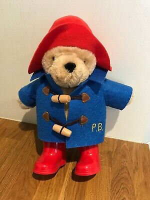 Paddington Bear Soft Plush Toy 9 inch Paddington Classic Red Boots Blue Coat VGC