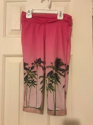 Gap Kids Girls Pink Crop Leggings With Palm Trees Size S (6-7)