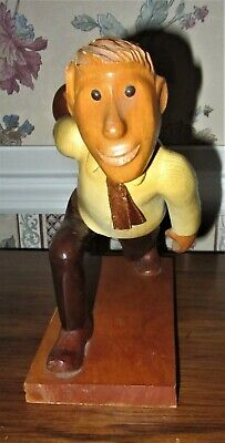 """Romer Hand Carved Wood Bowler, Charming Sports Figure, 9"""" Tall  Made In Italy"""