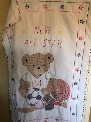 Hand Embroidered Hand Quilted Baby Quilt with prairie points New All Star