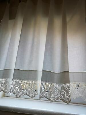 Vintage white cotton window curtain with crochet edge