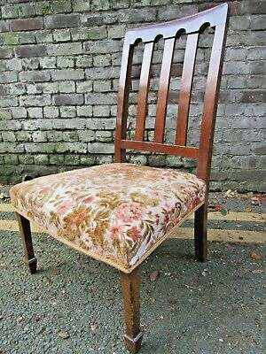 Antique Arts & Crafts Chair Embroidered Tapestry Seat Low Fireside Nursing 1910