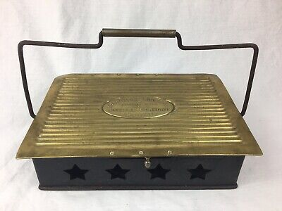 Antique French Brass Chauffeuse Horse Carriage Foot Warmer, (J.B.D - Paris)