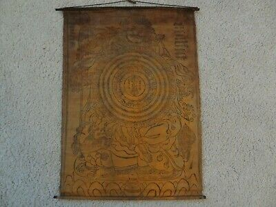 Antique Mongolian Buddhist Woodblock  Print  On Cotton (Wheel Of Vaisravana )