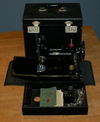 Singer 221k Vintage Sewing Machine with Case and Accessories Fantastic Condition