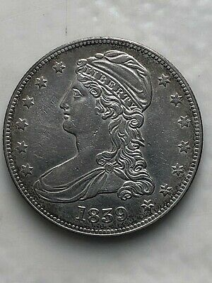 1839 Reeded Edge Capped Bust Silver US Half Dollar