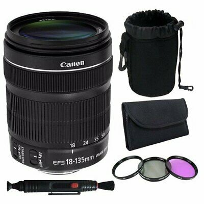 Canon EF 18-135mm f/3.5-5.6 is STM Lens + 67mmFilter Kit Pen Cleaner + Deluxe Le