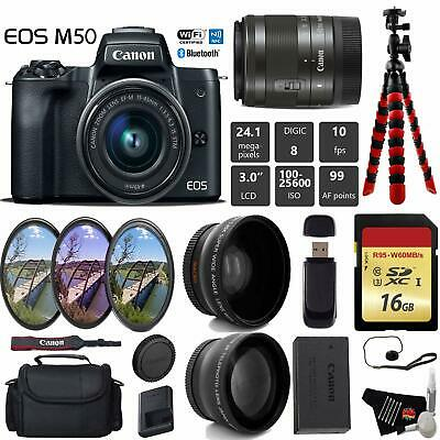 Canon EOS M50 Mirrorless Digital Camera +15-45mm Lens + UV FLD CPL Filter Kit +